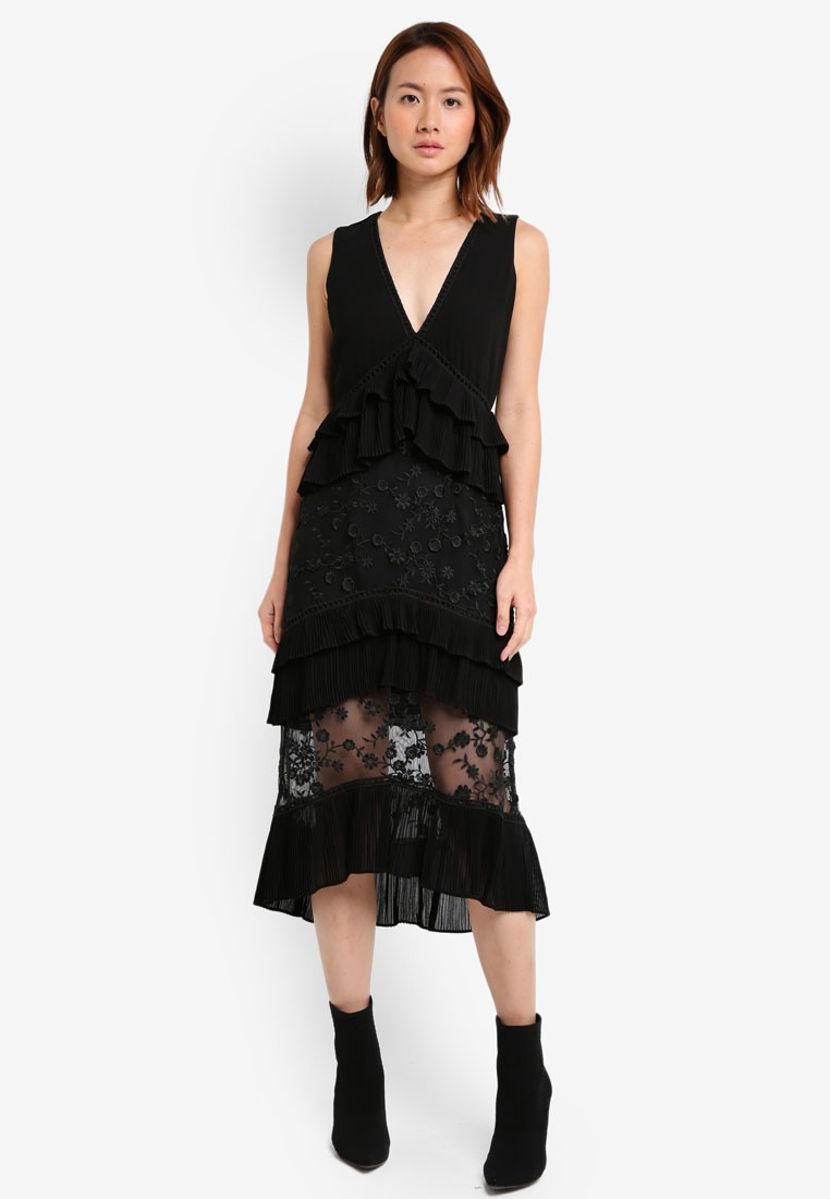 Layered LOST Dress 3D Frill INK Midi Black pnq585