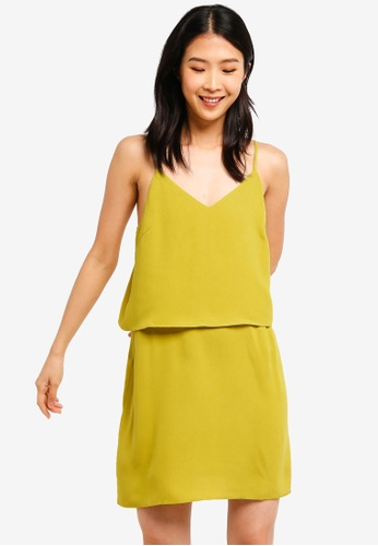 ZALORA BASICS yellow Basic Double Cami Strappy Dress D8196AA10E35C6GS_1