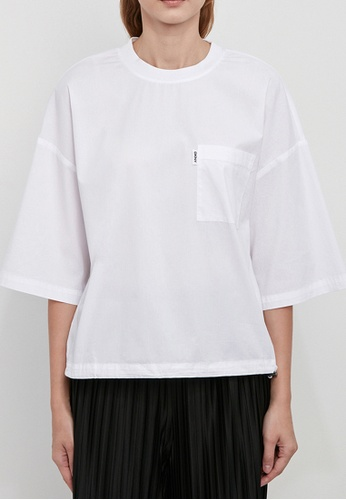 Dkny white DKNY Women Stretch Elbow Top With Elastic Pull BF652AA1FF3D95GS_1