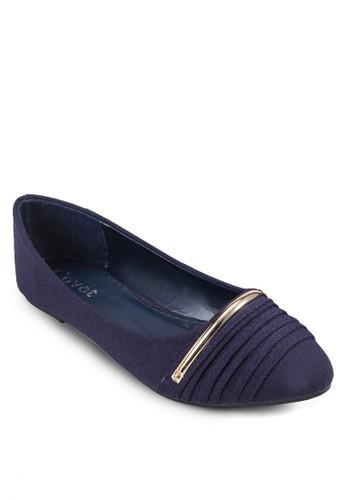 金屬條褶飾zalora鞋尖頭平底鞋, 女鞋, 鞋