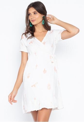 Fashion Fanatix white Boho Ruffle Overlap Wrap Dress 2915DAAC0B3DD3GS_1