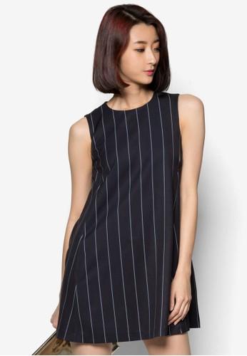 直條紋寬zalora 包包 ptt擺連身裙, 服飾, 洋裝