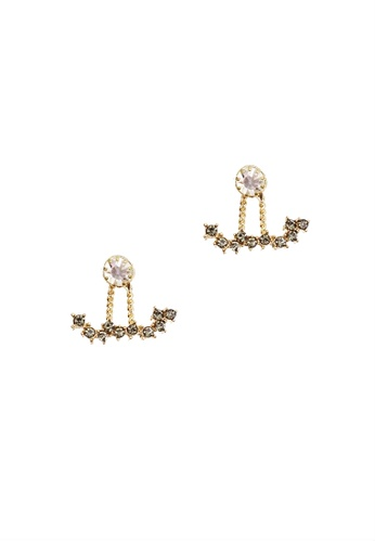 LUCCACAL grey and white and gold Clustered Rhinestone Ear Jacket LU294AC62AZDMY_1