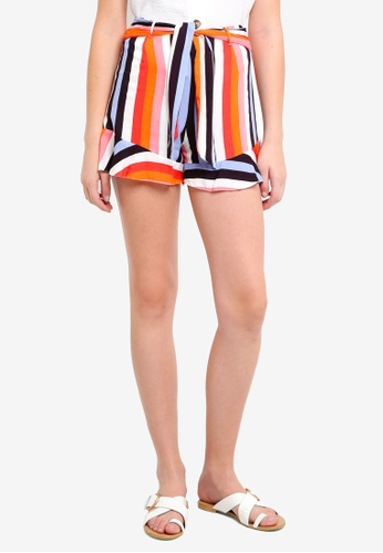 Miss Selfridge multi Rainbow Tie Waist Shorts D8500AA403EE48GS_1