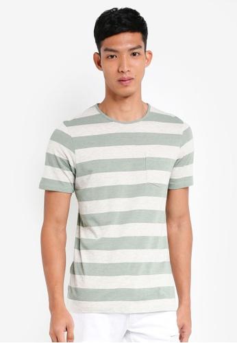 Jack & Jones white and green Ocean Stripe Tee 8CFC7AA0858162GS_1