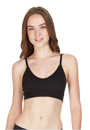 6IXTY8IGHT black Caby, Cable Knit Triangle Bralette BR09918 89A7EUS48B7D27GS_1