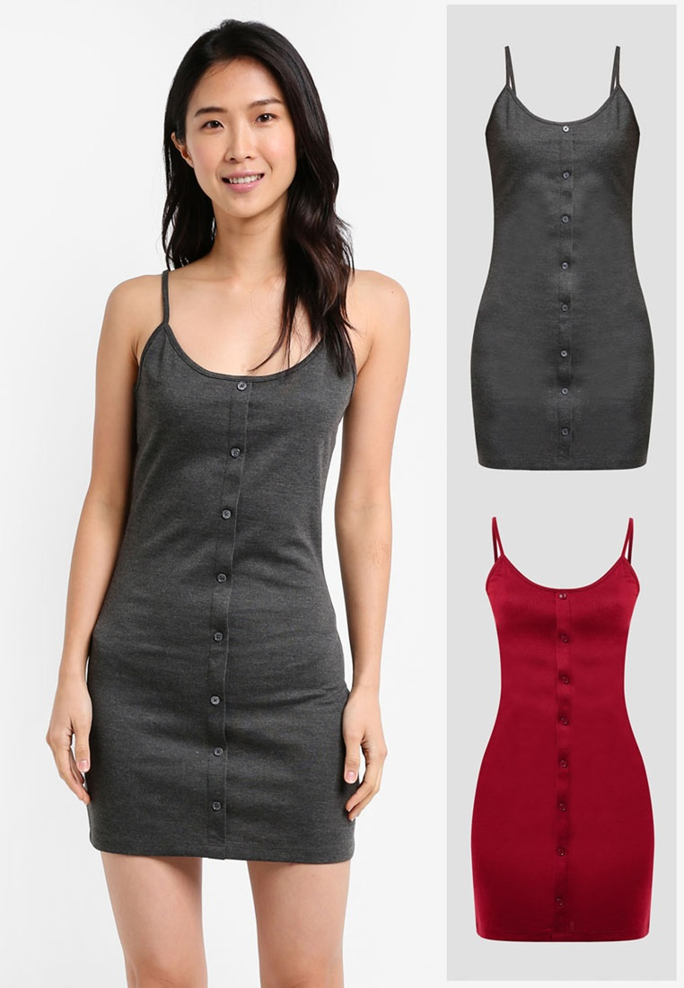 Dark Essential BASICS 2 Marl Grey Button Burgundy Cami pack ZALORA Dress Front O5A85w