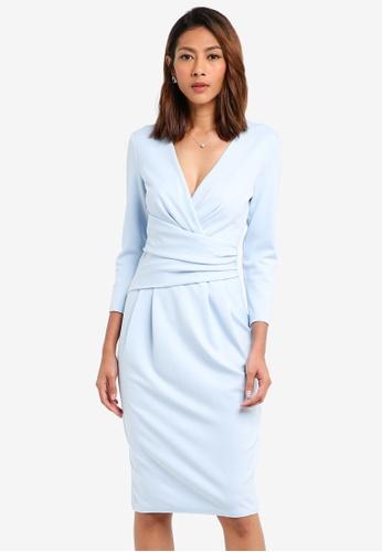 Goddiva blue Fitted Pleated Midi Dress 1D4CEAA5AA08B2GS_1