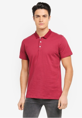 ZALORA red Small Collar Jersey Polo Shirt D0725AA7491D68GS_1