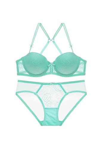 W.Excellence 綠色 Premium Green Lace Lingerie Set (Bra and Underwear) 448A3USB226A92GS_1