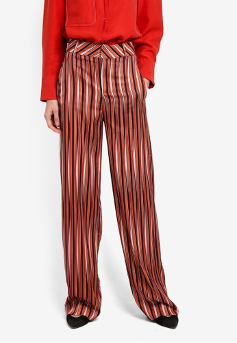 Mango orange Satin Striped Trousers MA193AA0T0YNMY_1