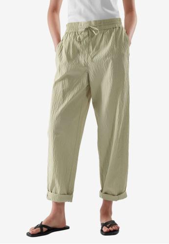 COS green Drawstring Seersucker Pants 14320AA7BC9539GS_1