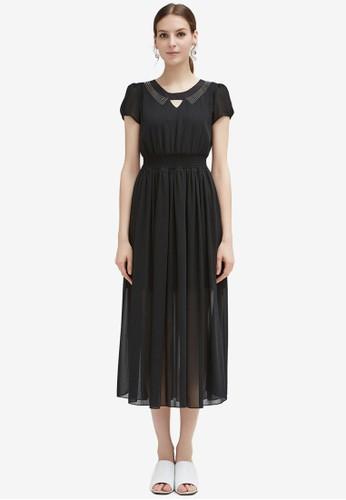 Hopeshow black Puff Sleeve Midi Dress DDA61AADC1226DGS_1