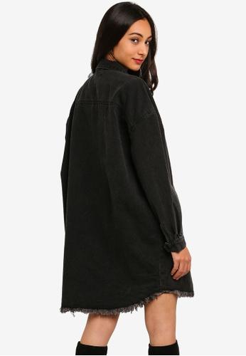 c14cdd07f50 Buy MISSGUIDED Black Oversized Denim Shirt Dress Online on ZALORA Singapore
