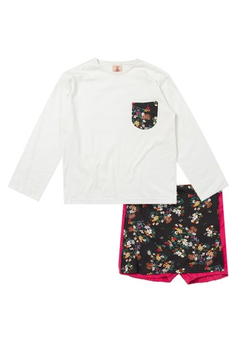 Tiny Button white and pink Girl Floral Blouse And Short Pants FB97CKA102AAACGS_1