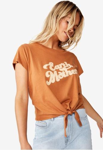 Cotton On orange Tbar Tie Front Tee A822FAA2C8F333GS_1