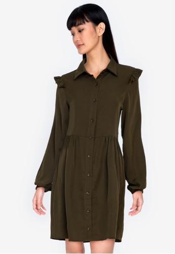 ZALORA BASICS green Frill Detail Shirt Dress 98827AA403CB8CGS_1