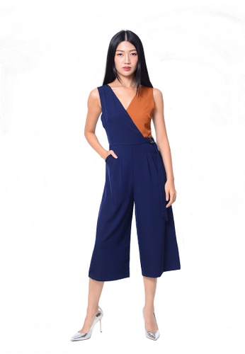 e44599dbcbf3 JoeyL Fashion brown Casual-Slvless color block jumpsuit in navy  4689EAAD97EA71GS 1