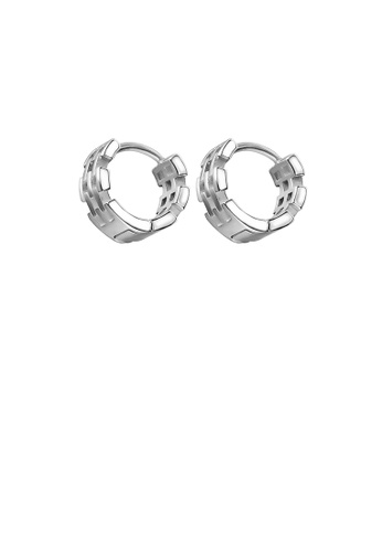 Glamorousky silver Simple Personality Striped Geometric Circle 316L Stainless Steel Stud Earrings 711F9AC7B1DFD3GS_1