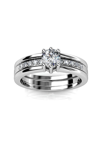 Her Jewellery silver Swarovski® Crystals - Double Ring (3 Styled) (White Gold) (18K White Gold Plated) Her Jewellery HE581AC0RE5AMY_1