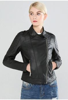 b1161fc8c1 London Rag black Zipper Faux Leather Biker Jacket E2410AA8D1913BGS_1