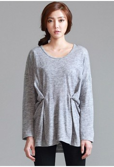 [IMPORTED] Minimalist Hip Ruched Top - Grey