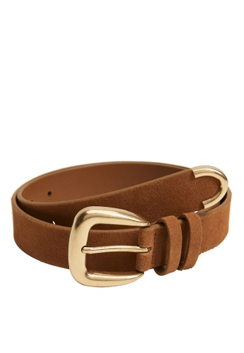 Mango brown Suede Leather Belt D80E7ACD76DC65GS_1