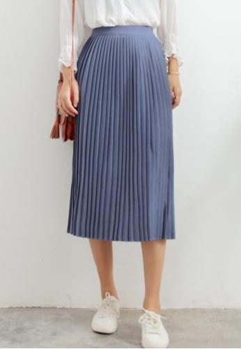 Shopsfashion blue Pleated Midi Skirt in Blue SH656AA72WXBSG_1