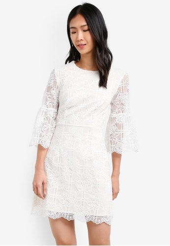 ZALORA white Studio Fit & Flare Lace Dress D9126AAEC8215CGS_1