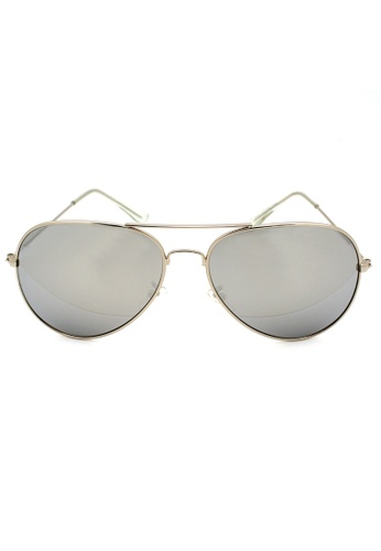 Elitrend silver Unisex Mirrored Metal Pilot Sunglasses In Reflective Silver EL890AC15MPOSG_1