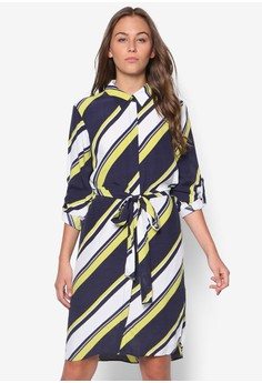 Printed Lime Navy Shirt Dress