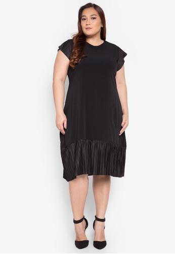 Hint black Plus Size Electro Pleated Design Dress HI373AA0KJ7TPH_1