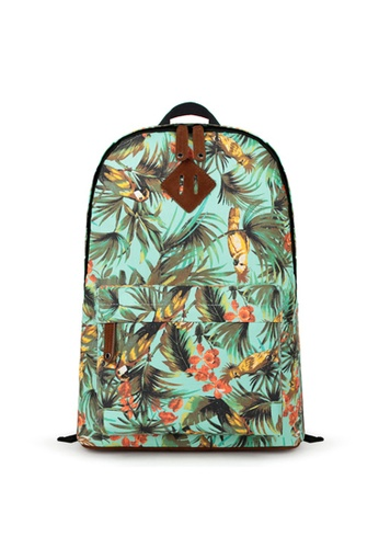 The Catalyst Store green and blue Tropical Print Backpack EU777AC17AMGSG_1