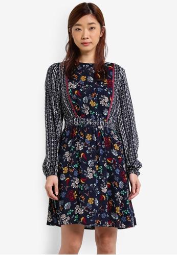 ZALORA multi and navy Mixed Printed Folk Print Dress 5961EZZ747088AGS_1