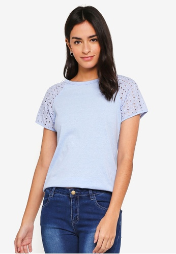 ZALORA blue Eyelet Sleeves Top 38A57AA66D894AGS_1