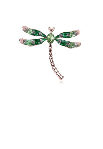 Glamorousky white Simple and Fashion Plated Gold Green Dragonfly Brooch with Cubic Zirconia 15CEDAC789D88FGS_1