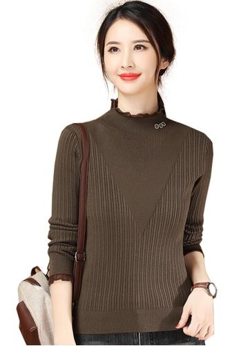A-IN GIRLS brown Slim-Fit Lace Collar Sweater 784B9AA53AA68FGS_1