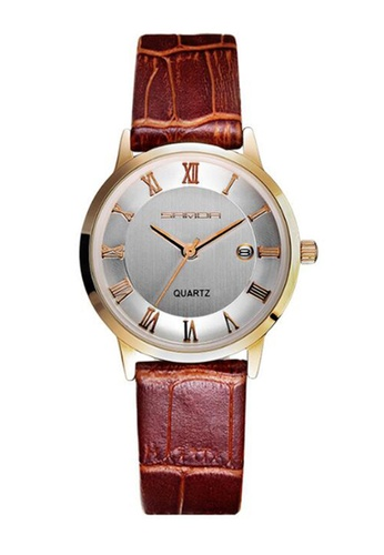 SANDA white and gold SANDA P188L Genuine Leather Brown Band Date Display Quartz Watch for Women (White Gold) SA708AC0RXHHMY_1