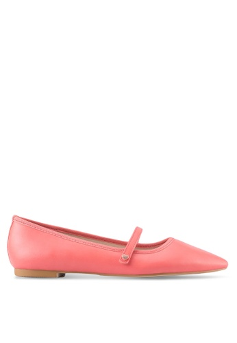 Velvet pink Mary Jane Pointed Flats F175ESH92A0570GS_1