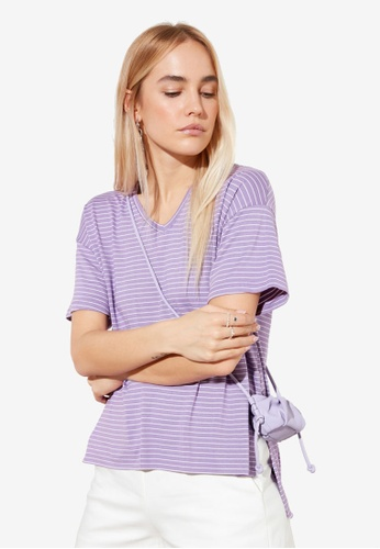 Trendyol purple Striped High Low Knitted T-Shirt D3D88AA6BC9AAAGS_1