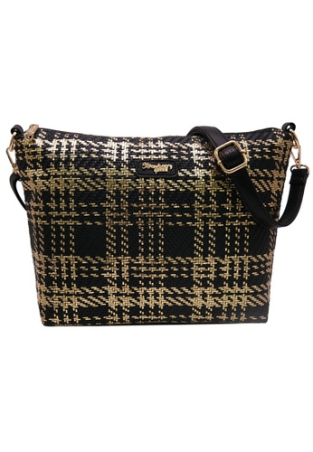 STRAWBERRY QUEEN black and gold Strawberry Queen Flamingo Sling Bag (Rattan AW, Gold) 36EE4AC4C752C9GS_1