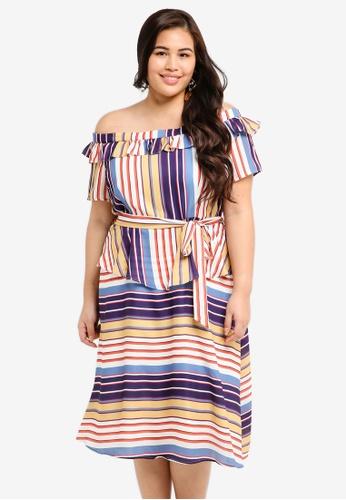 LOST INK PLUS multi Plus Size Bardot Dress In Stripe B2448AAFC9EE96GS_1