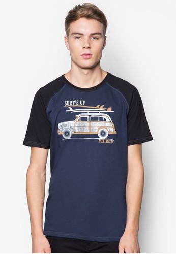 「衝esprit 工作浪去」拉克蘭袖圖案設計TEE, 服飾, T恤