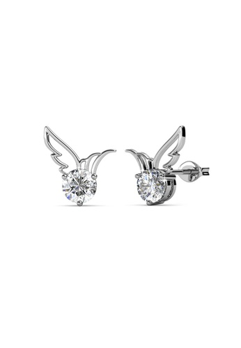 Her Jewellery silver Swarovski® Crystals - Wing Earrings (18K White Gold Plated) Her Jewellery HE581AC0R9VWMY_1