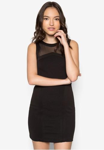 網紗拼接緊身連身裙, 服飾, zalora 包包評價洋裝