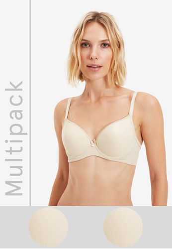 Trendyol beige 2-Pack T-Shirt Bra E880EUS6B2D830GS_1