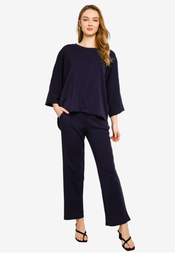 Gene Martino blue Toffy Batwing Ribbed Knit Suit 992D9AA341324DGS_1