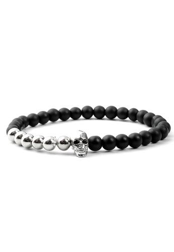 TIAS black and silver Tias Silver Skull Beaded Bracelet 9518FACB0009ADGS_1