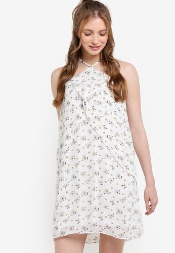 ZALORA white and multi Love Halter Neck With Ruffle Dress EB6B2AA68DE23FGS_1