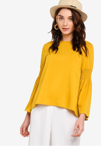 Zalia yellow Flare Sleeves Top With Smocked Details 2B507AAC861CD5GS_1